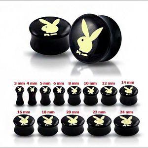 Černý sedlový plug do ucha s máslově-žlutým zajícem - Tloušťka : 6 mm obraz