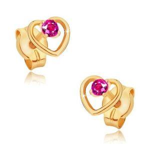 Zlaté náušnice 585 - obrys pravidelného srdce, kulatý růžový rubín obraz