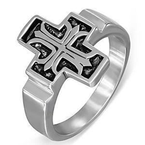 Ocelový prsten, Fleur de Lis v patinovaném latinském kříži - Velikost: 59 obraz