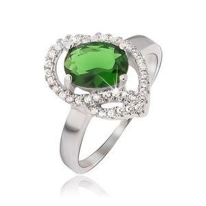 Stříbrný prsten 925, oválný zelený kamínek, zirkonové oblouky - Velikost: 59 obraz