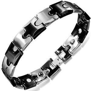 Tungstenový náramek, černé a stříbrné puzzle části obraz