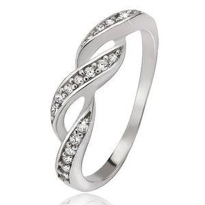 Prsten ze stříbra 925, zirkonové vlnky - Velikost: 53 obraz