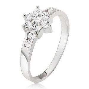 Prsten ze stříbra 925, čirý zirkonový květ - Velikost: 54 obraz