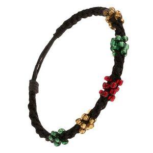Spirálový náramek z černých šňůrek, korálky tří barev obraz