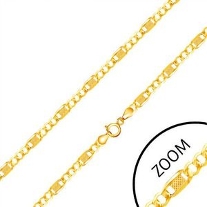 Řetízek ze žlutého 14K zlata - tři očka, dlouhý článek s mřížkou, 550 mm obraz