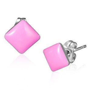 Puzetové náušnice z oceli - lesklé čtverce růžové barvy obraz