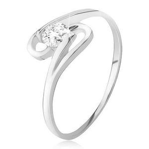 Prsten ze stříbra 925, kulatý zirkon mezi dvěma smyčkami - Velikost: 57 obraz