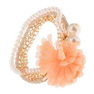 Multináramek - zlaté řetízky, béžový pletenec, korálky, oranžová květina obraz