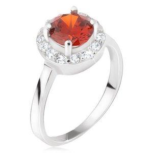 Prsten ze stříbra 925, okrouhlý červený kamínek, čirý zirkonový kruh - Velikost: 59 obraz