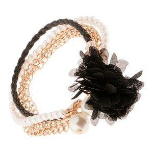 Multináramek - černý pletenec, řetízky zlaté barvy, korálky, černá květina obraz