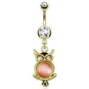 Zlatý ocelový piercing do pupku, sova s růžovým kamínkem obraz