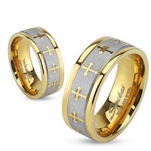 Prsten z oceli zlaté barvy, stříbrný saténový pás, jetelové kříže - Velikost: 59 obraz