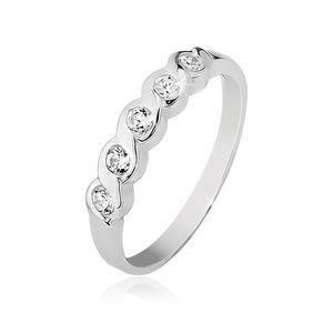 Prsten ze stříbra 925 se zasazenými pěti čirými kamínky - Velikost: 59 obraz