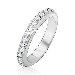 Stříbrný prsten 925 se zasazenými čirými kamínky - Velikost: 59 obraz