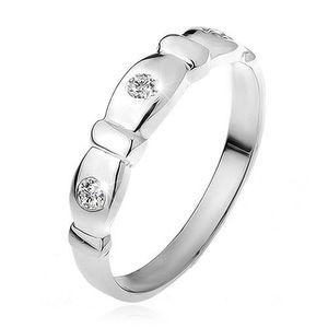 Prsten ze stříbra 925, seříznuté ovály, čiré kamínky, pásky - Velikost: 59 obraz