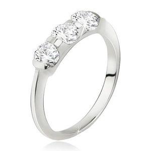 Prsten stříbro 925, širší pás se zasazenými třemi kamínky - Velikost: 59 obraz