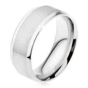 Prsten z oceli 316L, matný středový pás, lesklé šikmé okraje - Velikost: 64 obraz