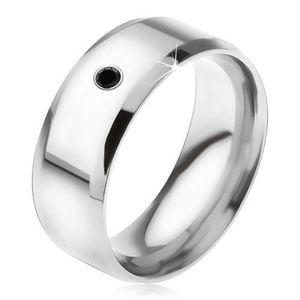 Zrcadlově lesklý prsten z oceli 316L, černý kamínek - Velikost: 64 obraz
