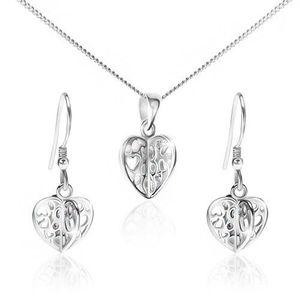 Set ze stříbra 925 - náhrdelník a náušnice, vyřezávaná srdce obraz