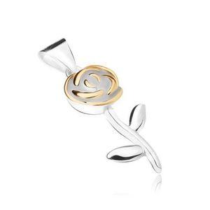 Přívěsek ze stříbra 925, květ růže s lístky zlaté barvy obraz
