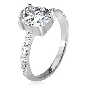 Stříbrný 925 prsten, zirkonová ramena, oválný čirý kamínek - Velikost: 59 obraz