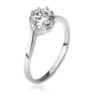 Stříbrný 925 prsten, čirý okrouhlý zirkon v kotlíku - Velikost: 49 obraz