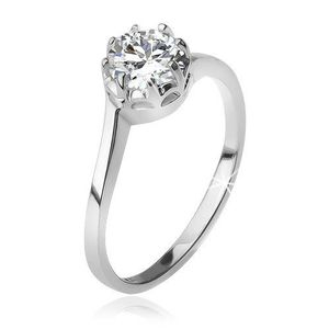 Stříbrný 925 prsten, čirý okrouhlý zirkon v kotlíku - Velikost: 55 obraz