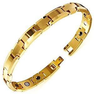 Lesklý náramek z wolframu zlaté barvy, zkosené okraje, magnetické kuličky obraz