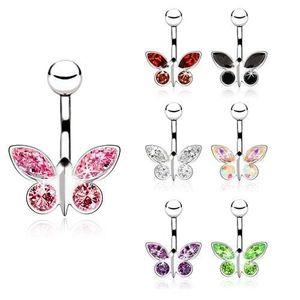 Piercing do pupíku zirkonový motýl - Barva zirkonu: Růžová - P obraz