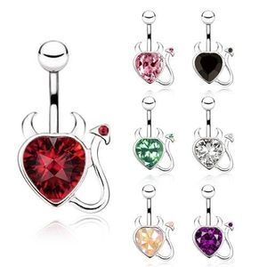 Ocelový piercing do bříška, zirkonové srdce s ocáskem a rohy - Barva zirkonu: Čirá - C obraz