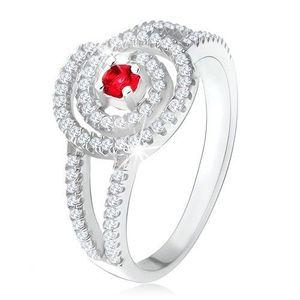Stříbrný 925 prsten, čirá zirkonová spirála, rubínový kamínek - Velikost: 51 obraz