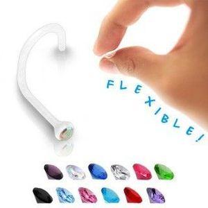 Piercing do nosu - transparentní BioFlex s barevným zirkonem - Barva zirkonu: Fuchsiová - F obraz