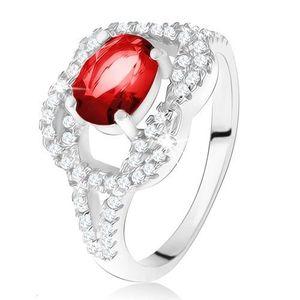 Stříbrný 925 prsten, oválný rubínový kámen, zirkonový uzel - Velikost: 53 obraz