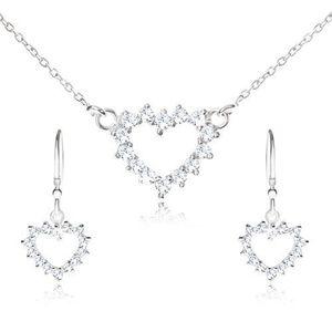 Set ze stříbra 925 - náhrdelník a visací náušnice, zirkonový obrys srdce obraz