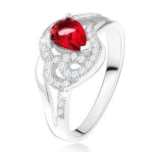 Prsten ze stříbra 925, rubínový slzičkovitý kámen, zvlněné zirkonové linie - Velikost: 52 obraz