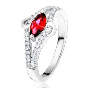 """Prsten ze stříbra 925, zrníčkovitý zirkon rubínové barvy, linie """"S"""", čiré kamínky - Velikost: 49 obraz"""