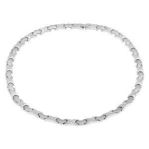 """Magnetický náhrdelník z oceli, stříbrná barva, články """"X"""", srdíčka obraz"""