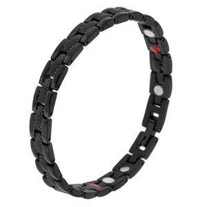 """Černý magnetický náramek z oceli, hadí vzor, články """"Y"""", kuličky obraz"""