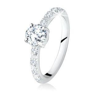 Stříbrný prsten 925, kulatý čirý kamínek, ramena zdobená zirkony - Velikost: 54 obraz
