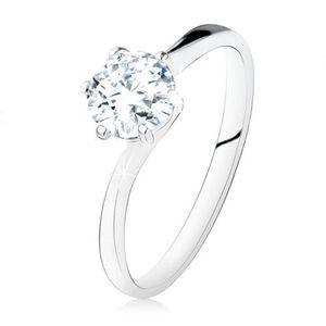 Stříbrný zásnubní prsten 925, kulatý čirý zirkon, úzká ramena - Velikost: 54 obraz