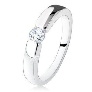 Stříbrný zásnubní prsten 925, hladká a lesklá ramena, kulatý zirkon - Velikost: 57 obraz