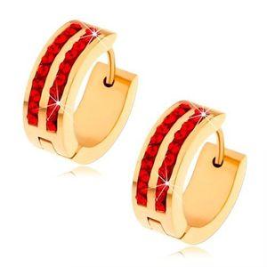 Ocelové náušnice zlaté barvy, dvě svislé linie rubínů červených zirkonů obraz