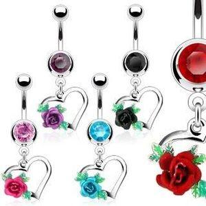 Ocelový piercing do bříška, obrys srdce, rozkvetlá růže s lístky, zirkony - Barva zirkonu: Černá - K obraz