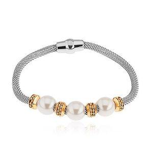 Ocelový náramek, perleťové korálky, kolečka ve zlaté barvě, síťovaný řetízek obraz