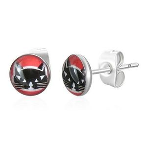 Kulaté ocelové náušnice - hlava černé kočky, červené pozadí obraz