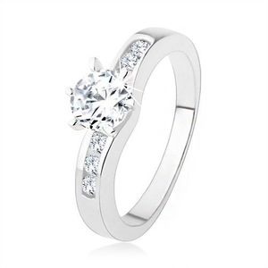Stříbrný prsten 925, kulatý čirý zirkon, zdobená ramena prstenu - Velikost: 60 obraz