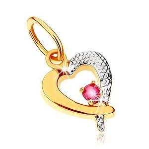 Dvoubarevný přívěsek v 9K zlatě - obrys srdce s tmavě růžovým rubínem, rhodiovaný obraz