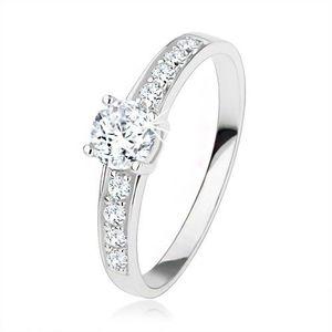 Stříbrný prsten 925, čiré zirkony, velký kulatý zirkon - Velikost: 60 obraz