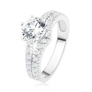 Zásnubní prsten ze stříbra 925 - velký čirý kamínek, rozdvojená zirkonová ramena - Velikost: 55 obraz