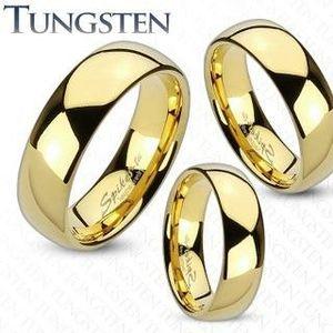 Wolframový prsten zlaté barvy, lesklý a hladký povrch, 6 mm - Velikost: 68 obraz